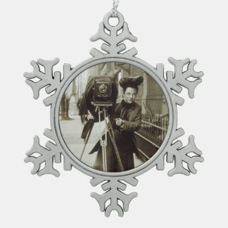 Ornamento del navidad del copo de nieve del adorno de peltre en forma de copo de nieve