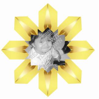 Ornamento del navidad del copo de nieve del oro fotoescultura vertical
