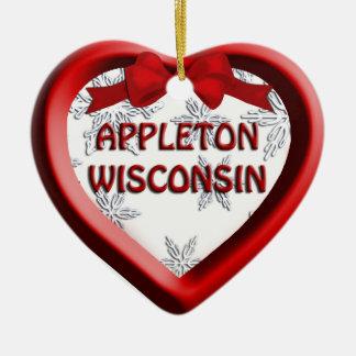 Ornamento del navidad del corazón de Appleton Adorno Navideño De Cerámica En Forma De Corazón