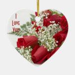 Ornamento del navidad del corazón de los rosas roj ornato