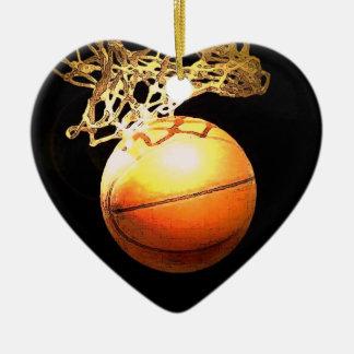 Ornamento del navidad del corazón del baloncesto adorno para reyes