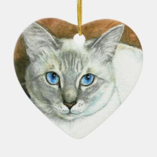 Ornamento del navidad del corazón del gato siamés ornamentos de reyes