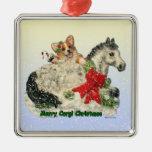 Ornamento del navidad del Corgi y del potro Adorno Navideño Cuadrado De Metal
