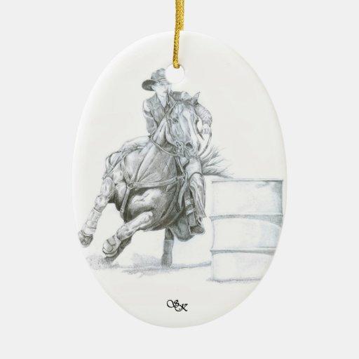 Ornamento del navidad del corredor del barril adorno navideño ovalado de cerámica