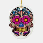 Ornamento del navidad del cráneo del azúcar adorno navideño ovalado de cerámica