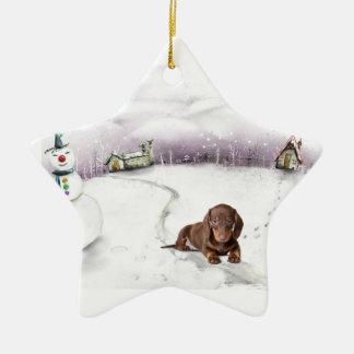 Ornamento del navidad del Dachshund Adorno De Cerámica En Forma De Estrella
