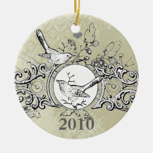 Ornamento del navidad del damasco de los pájaros adorno navideño redondo de cerámica