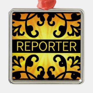 Ornamento del navidad del damasco del reportero ornaments para arbol de navidad