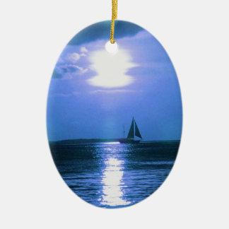 Ornamento del navidad del día de fiesta del velero adorno navideño ovalado de cerámica