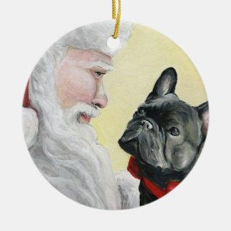 Ornamento del navidad del dogo francés y del perro adorno navideño redondo de cerámica