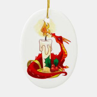 Ornamento del navidad del dragón del fuego adorno navideño ovalado de cerámica
