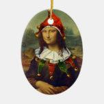 Ornamento del navidad del duende de Mona Lisa Ornamentos De Navidad