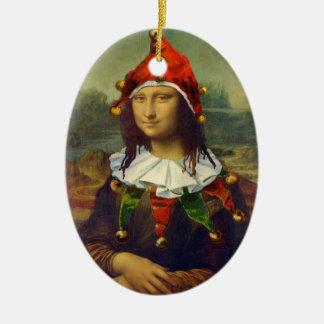 Ornamento del navidad del duende de Mona Lisa Adorno Ovalado De Cerámica