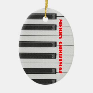 Ornamento del navidad del ébano y de la marfil adorno navideño ovalado de cerámica