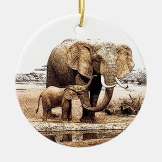 Ornamento del navidad del elefante y del elefante adorno navideño redondo de cerámica