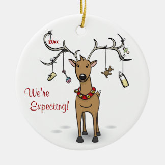 Ornamento del navidad del embarazo - ultrasonido adorno navideño redondo de cerámica