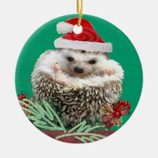 Ornamento del navidad del erizo adorno navideño redondo de cerámica