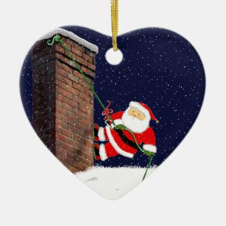 ornamento del navidad del escalador de roca adorno navideño de cerámica en forma de corazón