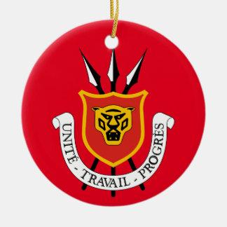 Ornamento del navidad del escudo de Burundi* Adorno Redondo De Cerámica