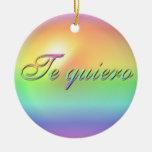 Ornamento del navidad del español te amo adorno navideño redondo de cerámica