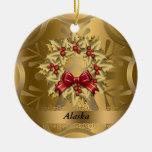 Ornamento del navidad del estado de Alaska Adorno Navideño Redondo De Cerámica
