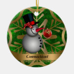 Ornamento del navidad del estado de Connecticut Adorno Navideño Redondo De Cerámica