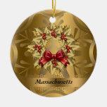 Ornamento del navidad del estado de Massachusetts Adorno Navideño Redondo De Cerámica