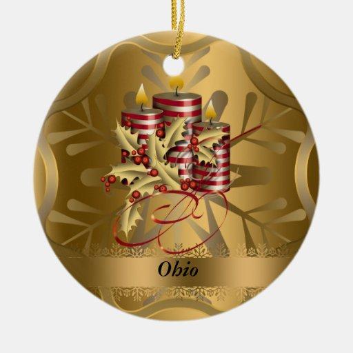 Ornamento del navidad del estado de Ohio Adorno Navideño Redondo De Cerámica