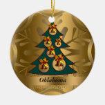 Ornamento del navidad del estado de Oklahoma Adorno Navideño Redondo De Cerámica