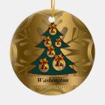 Ornamento del navidad del estado de Washington Adorno Navideño Redondo De Cerámica
