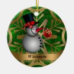Ornamento del navidad del estado de Wisconsin Adorno Navideño Redondo De Cerámica