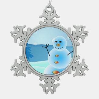 Ornamento del navidad del estaño del muñeco de adorno de peltre en forma de copo de nieve