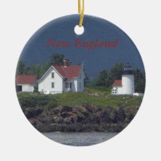 Ornamento del navidad del faro de Nueva Inglaterra Adornos