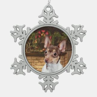 Ornamento del navidad del fox terrier del juguete adorno de peltre en forma de copo de nieve