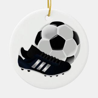 Ornamento del navidad del fútbol adorno navideño redondo de cerámica
