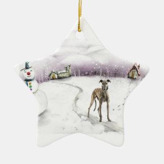 Ornamento del navidad del galgo adorno de cerámica en forma de estrella