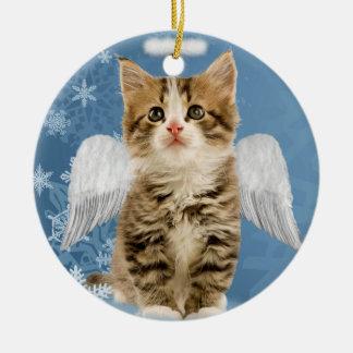 Ornamento del navidad del gatito del ángel adorno navideño redondo de cerámica