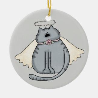 Ornamento del navidad del gatito del ángel ornato