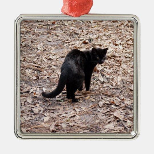 Ornamento del navidad del gato de Geoffroy Adorno Navideño Cuadrado De Metal