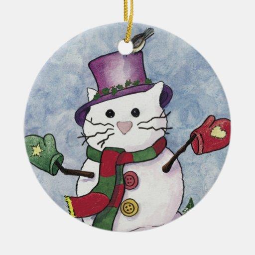 Ornamento del navidad del gato de la nieve adorno navideño redondo de cerámica