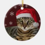 Ornamento del navidad del gato de Santa Adorno