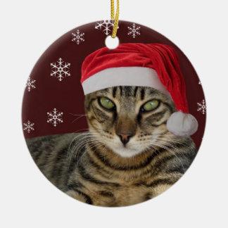 Ornamento del navidad del gato de Santa Adorno Redondo De Cerámica