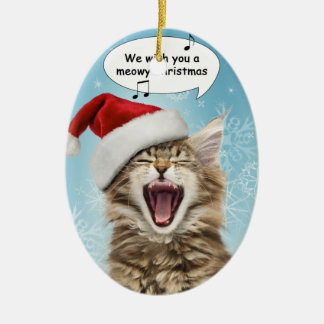Ornamento del navidad del gato del canto adorno navideño ovalado de cerámica