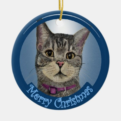 Ornamento del navidad del gato del chulo adorno redondo de cerámica