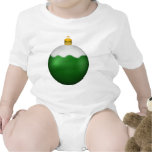 Ornamento del navidad del globo del vidrio verde traje de bebé