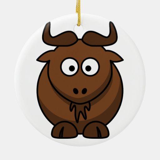 Ornamento del navidad del Gnu (Wildebeest) Adorno Navideño Redondo De Cerámica