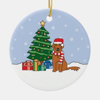Ornamento del navidad del golden retriever adorno de navidad
