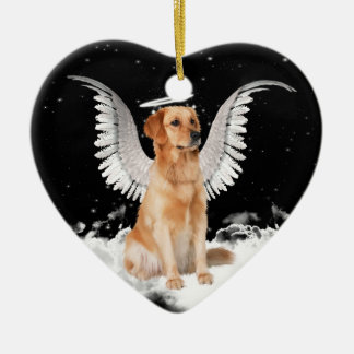 Ornamento del navidad del golden retriever del adorno navideño de cerámica en forma de corazón