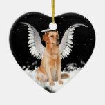 Ornamento del navidad del golden retriever del adorno de cerámica en forma de corazón