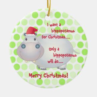 Ornamento del navidad del Hippopotamus del dibujo Adorno Navideño Redondo De Cerámica